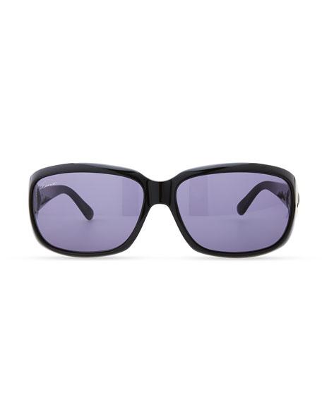 Rounded-Rectangle Sunglasses, Shiny Black