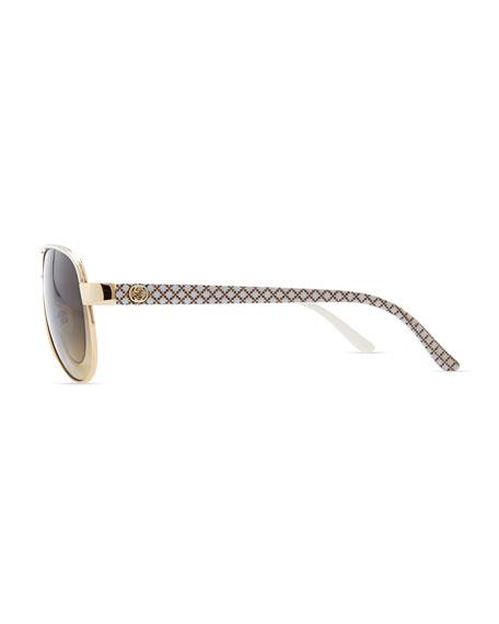 Metal Aviator Sunglasses, Ivory