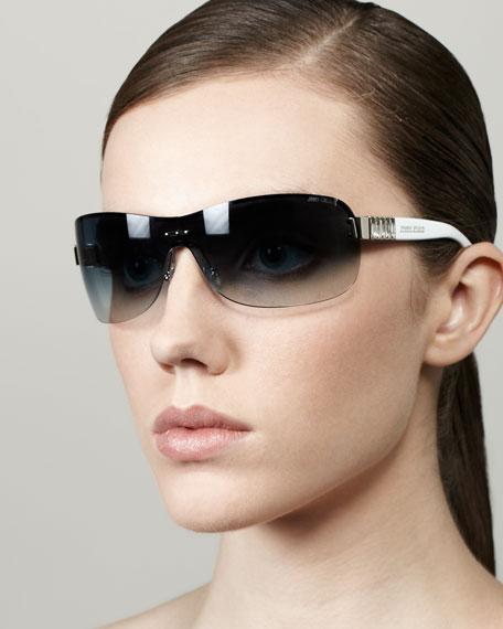 Flo Gradient Shield Sunglasses, Blue/White