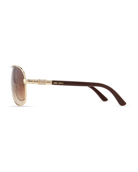 Walde Crystal-Temple Aviator Sunglasses, Brown