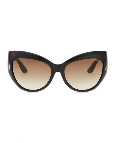 Bardot Sharp Cat-Eye Sunglasses, Black