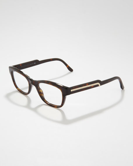 Rectangular Fashion Glasses, Dark Tortoise