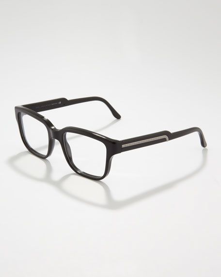 Rounded-Square Fashion Glasses, Black