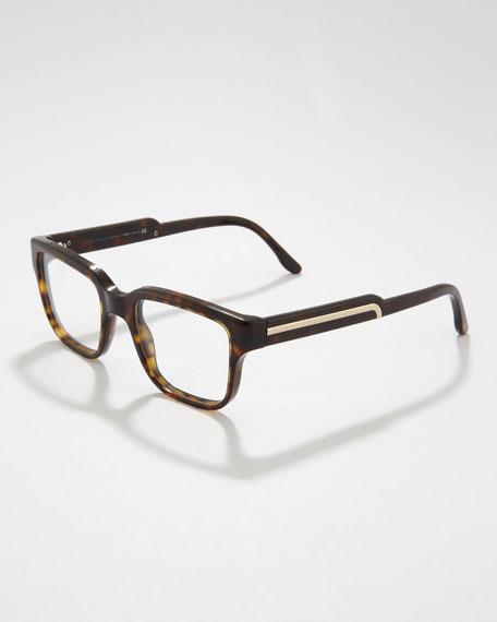 Rounded-Square Fashion Glasses, Dark Tortoise