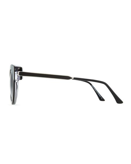 Barely Modified Round Sunglasses, Shiny Black
