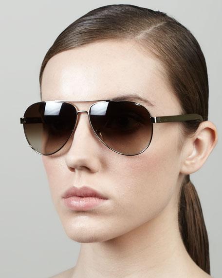 Aviator Sunglasses, Golden/Green