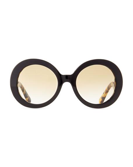 Baroque Round Sunglasses, Tortoise