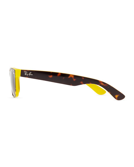 Two-Tone Wayfarer Sunglasses, Tortoise/Yellow