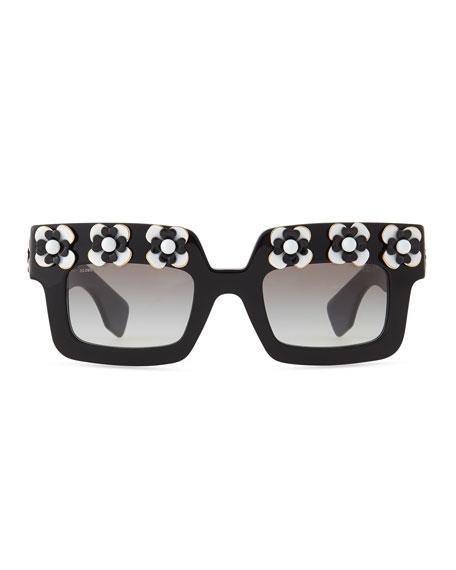 d3596c5bf2b0 Prada Flower Square Sunglasses, Black/White