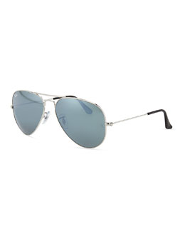 Ray-Ban Original Aviator Sunglasses, Silver Mirror