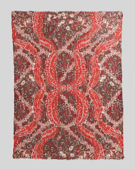 Ruffle-Print Scarf, Cinnabar Red