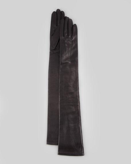 Lambskin Opera-Length Gloves, Black