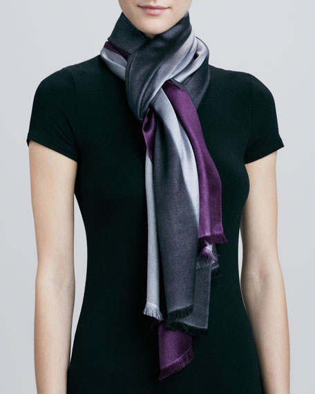Horizontal Colorblock Scarf, Aubergine/Gray