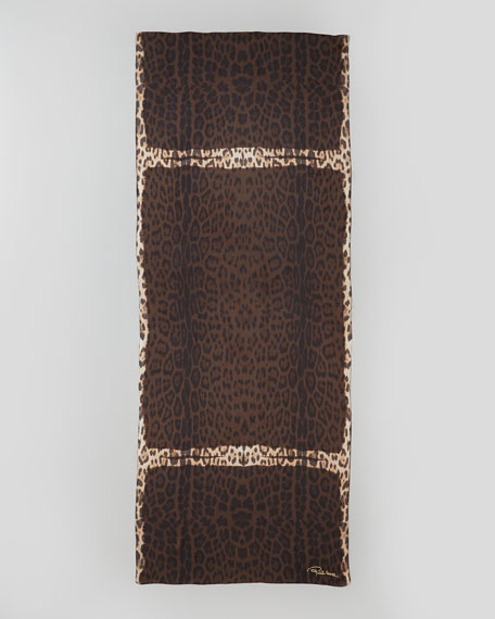 Leopard-Print Satin Stole