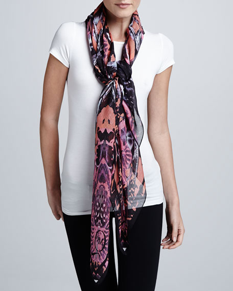 Kaleidoscope-Print Scarf, Black/Terracotta/Pink