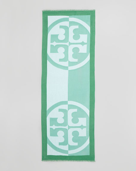 Reva Printed Linen-Blend Scarf, Green