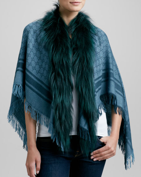 Fox Fur-Trim Shawl, Blue