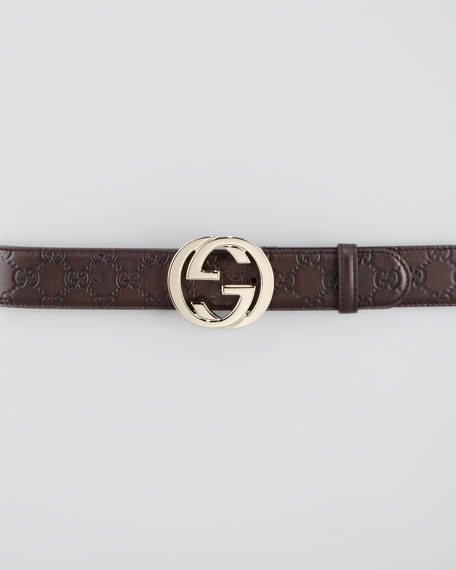 ffc363bfc68 Gucci Guccissima Leather Belt with Interlocking G Buckle