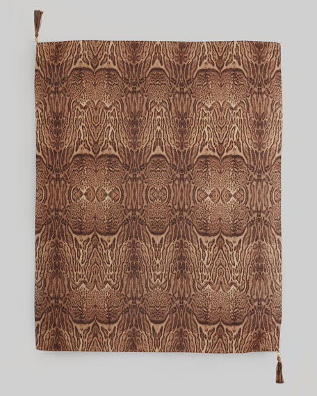 Animal-Print Square Tassel Scarf, Chocolate