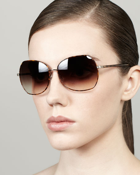 Yadiell Butterfly Sunglasses, Light Tortoise