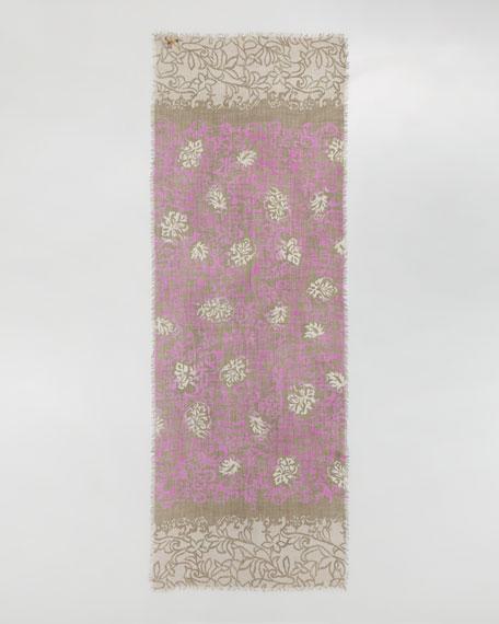 Unique Meknes Cashmere Stole, Rose/Khaki