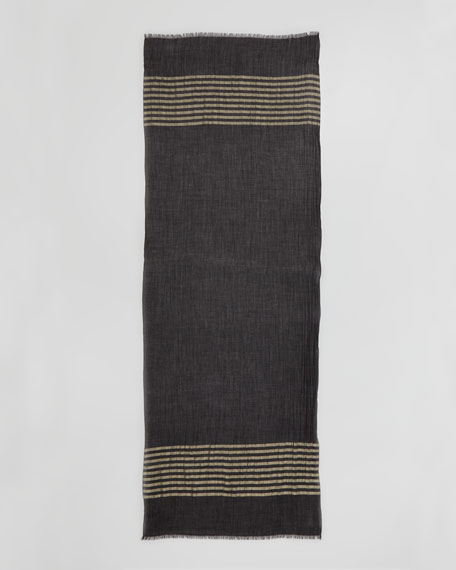 Nocturne Striped Shimmer Cashmere Stole, Black/Gold