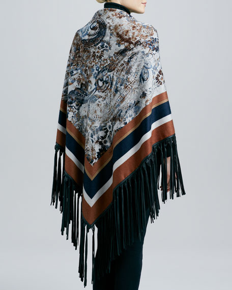 Le Jardin Leather-Fringe Cashmere Shawl, Amber/Navy