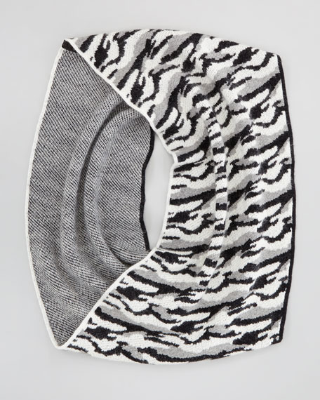 Darrene Animal Cashmere Scarf, Black/White/Gray