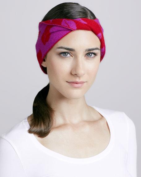 Chloe Lip-Print Head Wrap, Berry/Cherry