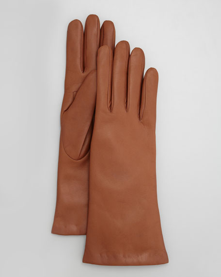 Four-Button Leather Gloves, Tobacco