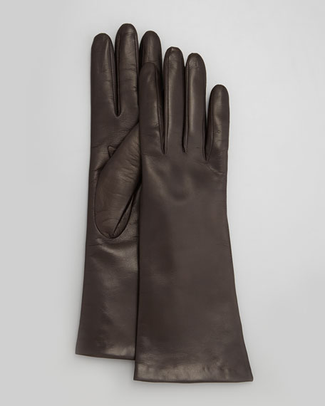 Four-Button Leather Gloves, Teak