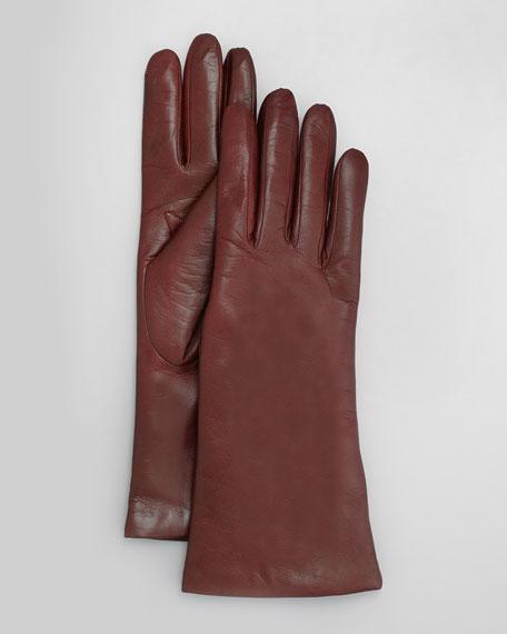 Four-Button Leather Gloves, Bordeaux