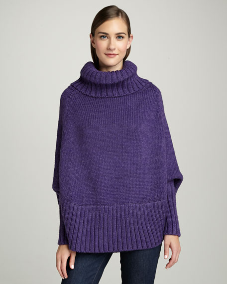 Poncho With Sleeves, Iris Purple
