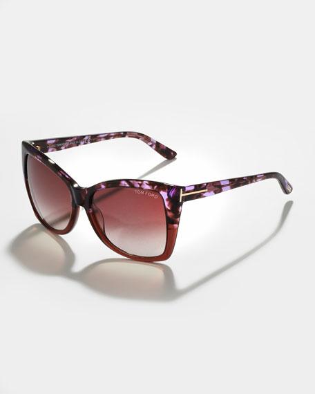 Alicia, Angled Round Sunglasses, Violet Havana