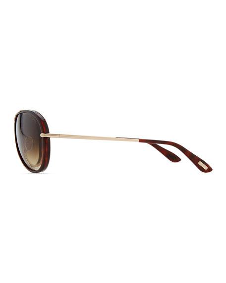Cyrille Aviator Sunglasses, Dark Havana/Rose Golden