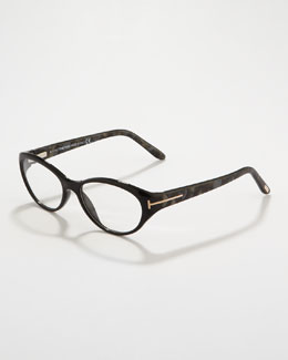 Tom Ford Small Cat-Eye Fashion Glasses, Pearly Gray