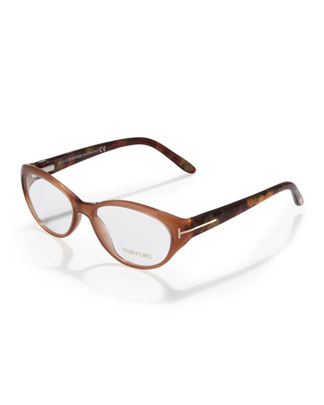 Pearly Small Cat-Eye Fashion Glasses, Opal Brown