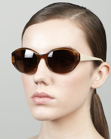 Addie Oval Butterfly Sunglasses, Raintree/Ivory