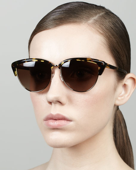 Alisha Half-Cat-Eye Sunglasses, Brown