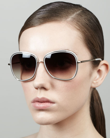 Emely Rounded Pillow Sunglasses, Ivory
