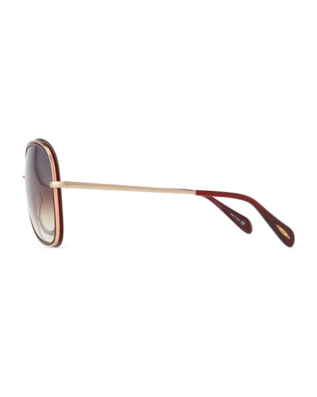 Emely Rounded Pillow Sunglasses, Oxblood