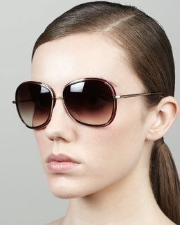 Oliver Peoples Emely Rounded Pillow Sunglasses, Oxblood