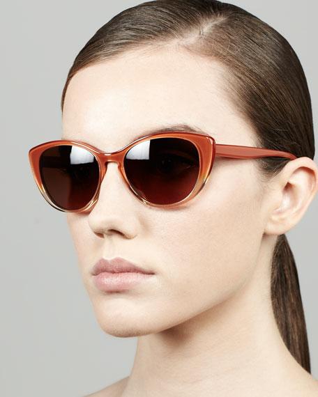 Haley Cat-Eye Sunglasses, Rust Gradient