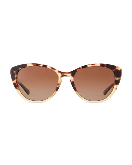 Haley Cat-Eye Sunglasses, Spotted Tortoise