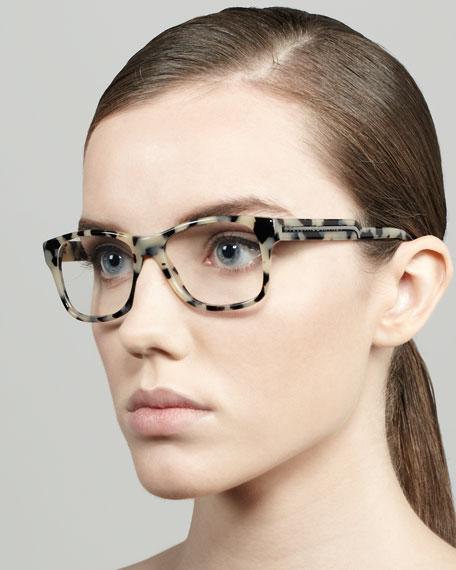 Oversized Square Frame Fashion Glasses, Gray Tortoise