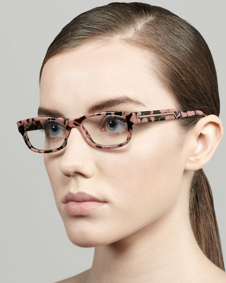 Rectangular Fashion Glasses, Pink Tortoise