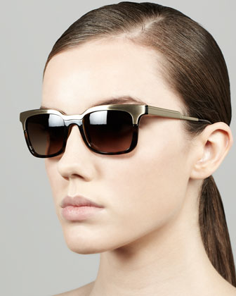Metal/Tortoise Rectangle Sunglasses, Golden/Tortoise