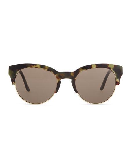 Tortoise Half-Cat-Eye Sunglasses, Green