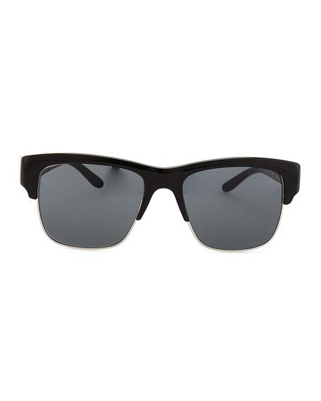 Half-Rim Sunglasses, Black