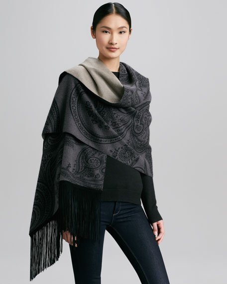 Suede-Fringe Paisley Cashmere Scarf, Gray